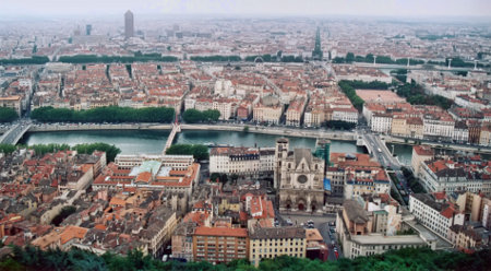 Lyon, viewed from Fourvière hill looking eastward